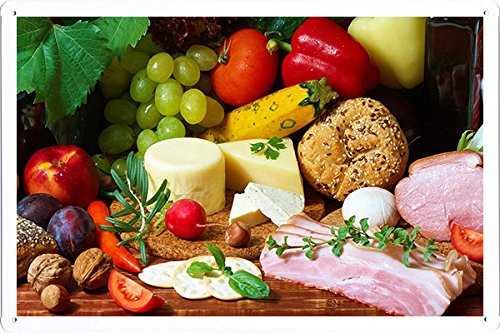 Cheese Wine Meat Food Vegetables Fruits 70077 Tin Poster by Food & Beverage Decor Sign (Fruit And Vegetables Posters compare prices)