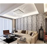 "Modern Minimalist Tree Pattern Non-woven Wallpaper Roll Black & White Color 0.53m(20.8"")10m(32.8')=5.3?(57sqfeet)"