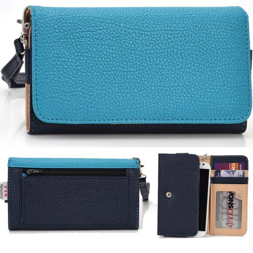 Exxist® Classic Metro Series. Patent Leather Wallet / Clutch For Archos 43 Internet (Color: Baby Blue / Navy Blue) -Esmlmtbb