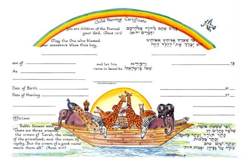 Jewish Baby Boy Noah's Ark Naming Certificate Full Color Folded