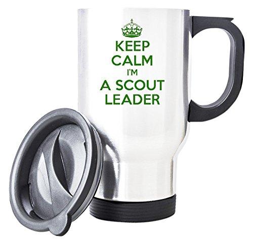 """Green, motivo: """"KEEP CALM I'm A Scout Leader-Tazza da viaggio, colore: bianco"""