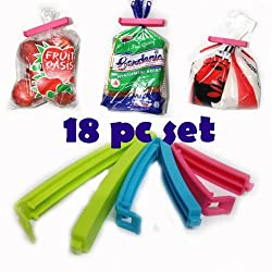 Plastic Food Snack Bag Pouch Clip Sealer for Keeping Food Fresh pack of 18 In 3 Different Sizes (Multi Color)