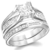 KingswayJewelry His & Her 3-Piece Women Sterling Silver & Men Stainless Steel Engagement Rings Set