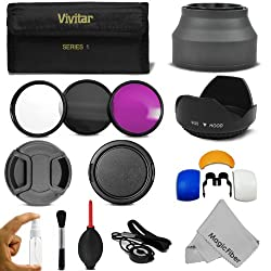 55MM Professional Accessory Kit for SONY Alpha Series A99 A77 A65 A58 A57 A55 A390 A100 DSLR Cameras - Includes: Vivitar Filter Kit (UV CPL FLD) + Carry Pouch + Lens Hoods (Tulip and Collapsible) + Flash Diffuser Set + Lens Caps (Center Pinch and Snap On) + Cap Keeper Leash + Deluxe Cleaning Kit + MagicFiber Microfiber Lens Cleaning Cloth