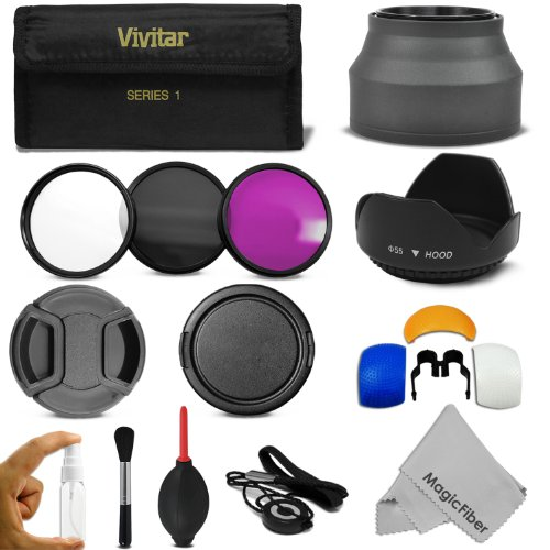 55Mm Professional Accessory Kit For Sony Alpha Series A99 A77 A65 A58 A57 A55 A390 A100 Dslr Cameras - Includes: Vivitar Filter Kit (Uv, Cpl, Fld) + Carry Pouch + Lens Hoods (Tulip And Collapsible) + Flash Diffuser Set + Lens Caps (Center Pinch And Snap O