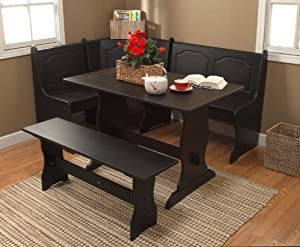 3pc black finish nook dining table benches set home