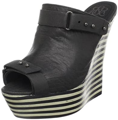 Rock & Republic Women's Grace Wedge Slide,Black,40 EU/10 M US