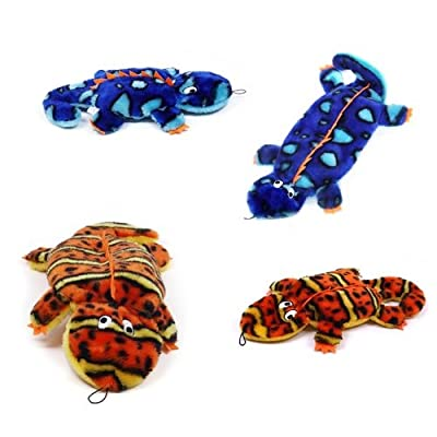 Outward Hound Invincibles Plush Gecko Stuffingless Durable Dog Toys Squeaker Toy