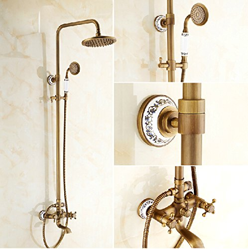 Rozin Antique Brass 8-Inch Rainfall Shower Faucet Tub Wall Mounted Mixer Tap With Hand Spray front-437456
