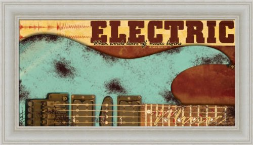 Electric By John Jones Guitar Sign 14X8 In Art Print Framed Picture