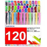 120 Coloring Gel Pens Set, Laneco 60 Multicolor Drawing Pens Plus 60 Refills, 20% More Ink Than Normal Pens, Great for Adult Coloring Book and Kids Painting