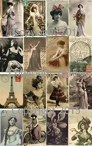 vintage-printed-french-reproduction-post-cards-collage-sheet-101-scrapbooking-decoupage