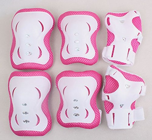 Great Deal! TOPWEL Kid's Roller Blading Wrist Elbow Knee Pads Blades Guard 6 PCS Set