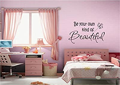 Quote It! - Be Your OWN Kind of Beautiful Chocolate Brown Vinyl Wall Lettering Stickers Quotes and Sayings Home Art Decor Decal