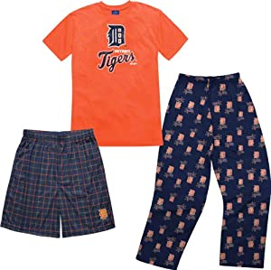 MLB Detroit Tigers Youth T-shirt Boxer & Pant 3 Piece Sleep Set by MLB Licensed
