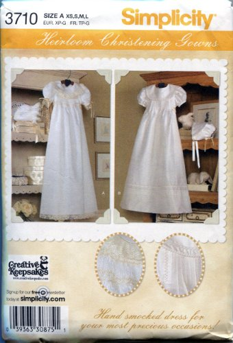 Simplicity Sewing Pattern 3710 Babies' Christening Gowns and Bonnets Including Smocking Instructions (Christening Gown Sewing Pattern compare prices)