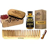 Beard Kit, Boar Bristle Brush, Beard Comb, Small Mustache Comb, Leave In Conditioner Oil for Facial Hair, Grooming Kit