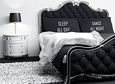 Kissenbezug Schwarz Mit Weiß Sleep All Day Dance All Night Neuheit Geschenk Lustig von 60 Second Makeover Limited - Gartenmöbel von Du und Dein Garten