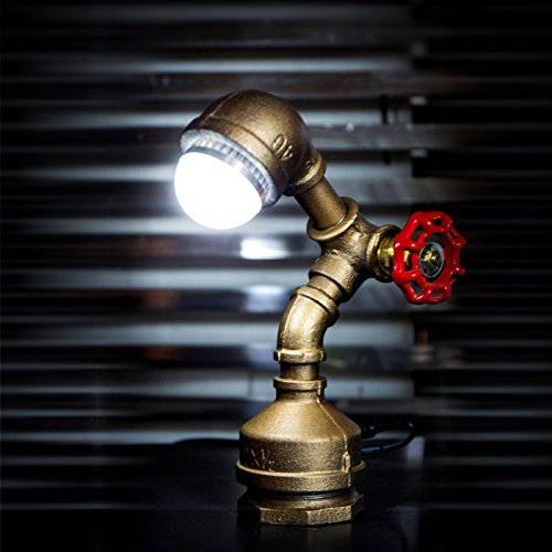 "Y-Nut Loft Style Vintage Metal LED Table Lamp, ""Alfred"", Steampunk Industrial, Night Light, Desk Light, LL-007-DL"