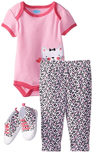 BON BEBE Baby-Girls Newborn Kitty Cat 4 Piece Pant Set with Sneakers