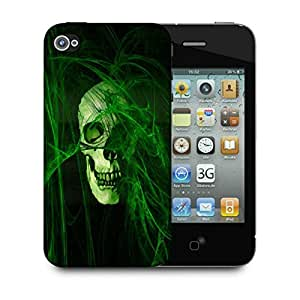 Snoogg Abstract Skull Green Designer Protective Back Case Cover For IPHONE 4