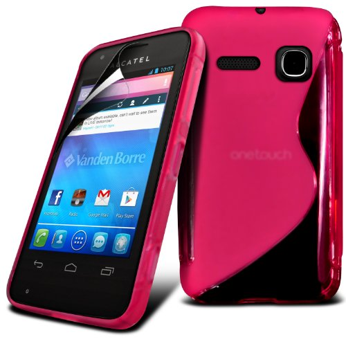 Alcatel One Touch S'Pop Hot Pink S Line Wave Gel Case Skin Cover With Lcd Screen Protector Guard, Polishing Cloth By Fone-Case