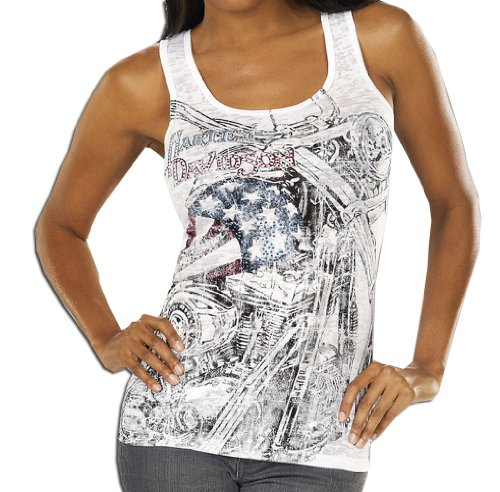 Harley-Davidson Womens Star Flyer Burnout with Studs White Sleeveless Tank