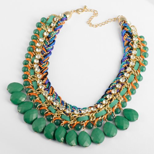 Fashion Colorized Knit Chain Crystal Green Water Drop Beads Pendant Statement Necklace Picture