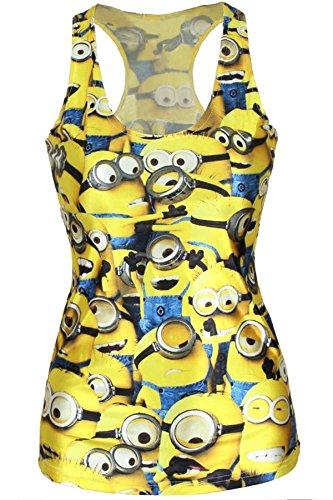 Minion, Donna, colore: giallo-Canotta Club Wear-Pigiama per Lingerie, vestiti, taglia unica 8 10 12