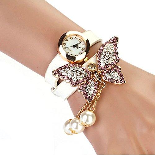 Bessky(TM) 2014 1PC Women Faux Pearls Rhinestone Butterfly Bracelet Quartz Analog Watch White image