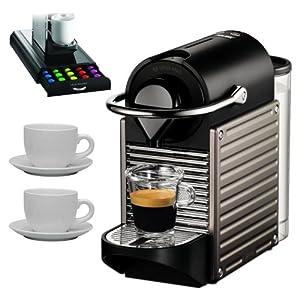 nespresso pixie c60 single cup espresso maker titanium with 13 piece espresso set. Black Bedroom Furniture Sets. Home Design Ideas