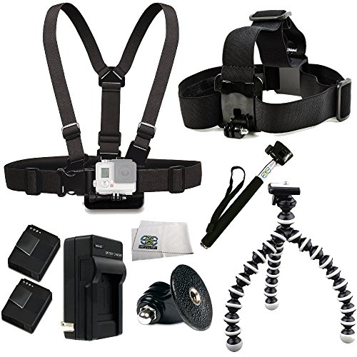 SSE® Accessory Kit for GoPro HD HERO3+, HERO3 (Black, Silver & White) Accessory Kit. Includes Chest Mount + Head Mount + 2 Extended Life Replacement Batteries (AHDBT-301) + Charger + Tripod Adapter +