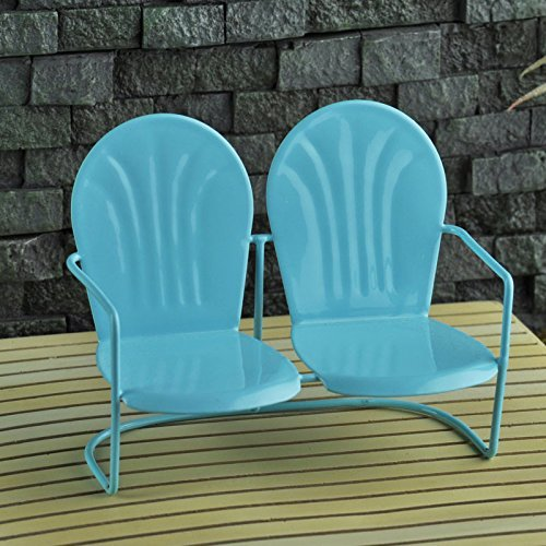 Miniature Fairy Garden Love Seat Blue - 1