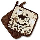 """2 X (= Paar) """" COFFEE - TIME """" Farbe : Braun / Beige/Creme - schönes Motiv : Kaffeetassen und Kaffeebohnen - Topflappen - Hochwertig verarbeitet , 100% Baumwolle , eine schöne kleine Geschenk - Idee zum Geburtstag"""