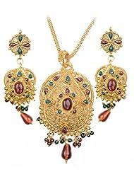 Asian Pearls & Jewels Designer Pendant Set - B00NME5I30
