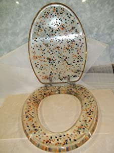 Elongated Toilet Seat Clear With Multi Colored Forget Me