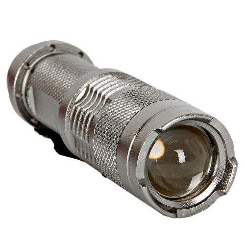 Cree Q3 3W 210 Lumens Mini Led Focusing Flashlight Electric Torch With Pen Clip Silver