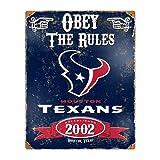 NFL Houston Texans Embossed Metal Sign