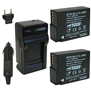 Wasabi Power Battery (2-Pack) and Charger for Leica BP-DC12, BP-DC12-U, 18729 and Leica V-Lux 4