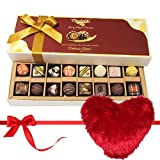 Valentine Chocholik's Belgium Chocolates - Delish Collection Of Dark And White Chocolates Treats With Heart Pillow