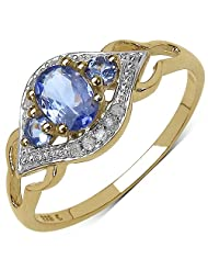 0.63CTW Genuine Tanzanite & White Diamond 14K Yellow Gold Plated .925 Sterling Silver Ring
