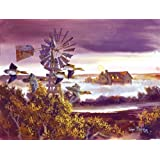 Windmill Teal Jigsaw Puzzle