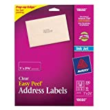 Avery Easy Peel Mailing Labels for Ink Jet Printers, 1 x 2.625 Inches, Clear, Pack of 300 (18660)