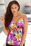 Shore Club Hot Tropics Plus Size Tie Front Tankini Top Plus