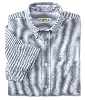 Orvis Men's Classic Pure Cotton Seersucker Shirt, Blue, Medium