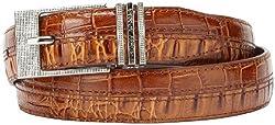 Stacy Adams Men's 30mm Hornback And Croco Embossed Belt, Cognac, 34