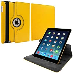 360 Leather Rotate Flip Cover Book Case for Apple iPad Air, iPad 5 -Yellow
