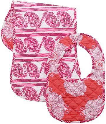 Masala Bib & Burp Set - Kolam Pink - 2 ct - 1