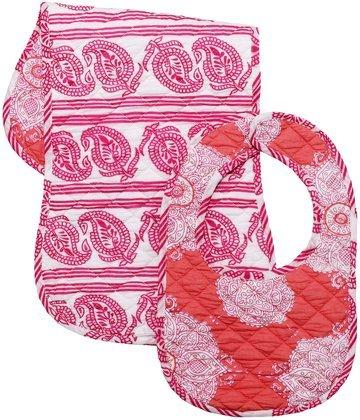 Masala Bib & Burp Set - Kolam Pink - 2 ct - 1