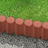 Garden palisade | Fence | Border edge | Lawn edging | Hammered in lawn | 2.1 m long | 10 pieces | Terracotta
